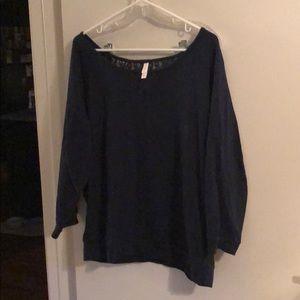 Adorable navy blue lace backing sweatshirt